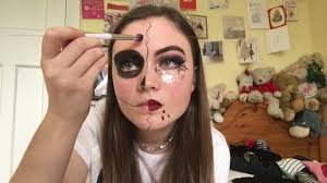 halloween makeup easy half face skull and vampire no face