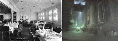 Titanic 1st Class Dining Room Titanic Diningroom In 1912 And Now Photo History Pinterest