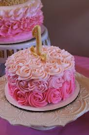 gorgeous pink ombre rosette smash cake for a delightful 1st