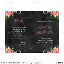 bi fold wedding program black hibiscus pink floral bi fold wedding program 8 5 x 11