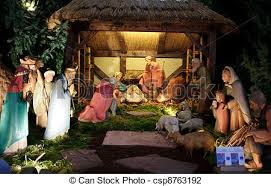 nativity with three wise presenting stock