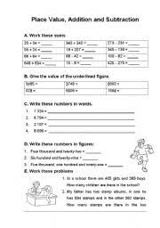 place value addition and subtraction worksheets value place