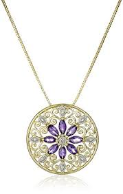 amethyst jewelry necklace images 18k yellow gold plated sterling silver mandala genuine jpg