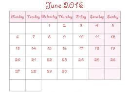 cute june 2016 calendar