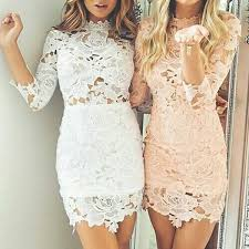tight scalloped edge white pearl pink lace homecoming dress