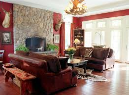 Reddish Brown Leather Sofa Decorating A Living Room With Cowhide Rug And Brown Leather