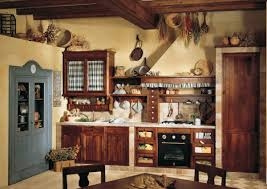 country kitchen ideas red open shelves wooden white range hood
