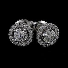 diamond back earrings diamond 14k white gold stud back earrings orospot on artfire