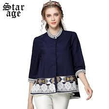s plus size blouses s 5xl ethnic pearl beaded cotton blouse shirts big