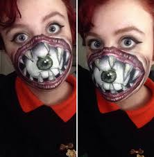 this woman use face paint to turn herself into a scary and creepy