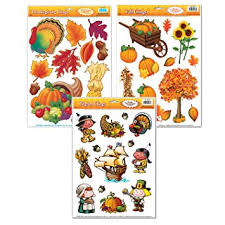 thanksgiving window cling decorations 3 large sheet