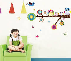 Wall Decals For Baby Nursery Cartoon Colorful Owl Family Baby Room Wall Decal Jpg