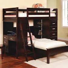 vrnished dark teak wood bunk beds with stairs built in small desk