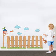 kids picket fence printed wall decal