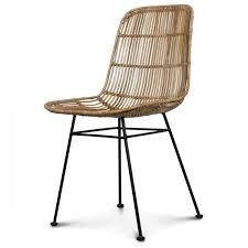 chaise en chaise en rotin naturel avec pied en métal malaka demeure et jardin