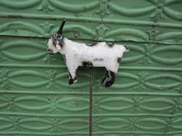 recycled metal goat yard stake lawn ornament