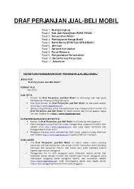 draft lengkap surat perjanjian jual beli mobil portalinvestasi