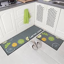 amazon com carvapet 2 piece non slip kitchen mat rubber backing