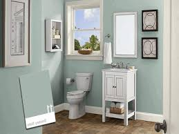 smooth light blue wall paint white wooden sink cabinet with under
