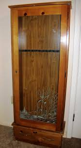 Glass Gun Cabinet Wood Gun Cabinet With Deer Etched Glass Best Cabinet Decoration