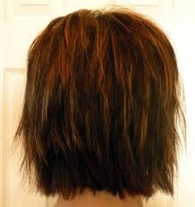 hair with shag back view shaggy bob medium brown with warm copper streaks hair