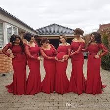 red bridesmaid dresses long sleeves bateau neck cheap formal