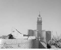 black and white photo of faraway abraj al bait towers u2013 islamic