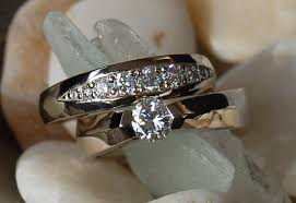 engagement ring and wedding band set custom engagement ring wedding band set by wax jewelry design