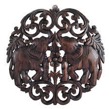 circular wood wall elaborate circular thai elephant carved wood wall