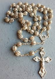 religious jewelry vintage sterling silver filigree rosary nouveau