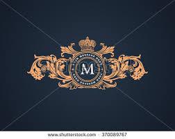 vintage crest logo elements flourishes calligraphic stock vector