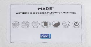 wiltshire 1000 pocket pillow top double mattress white made com