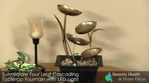 sunnydaze four leaf cascading tabletop fountain with led light