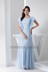light sky blue lace floor length prom gown evening dress