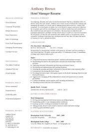 hotel manager cv template job description cv example resume