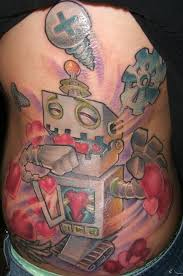 this new robot tattoo shows a robot who is so filled with