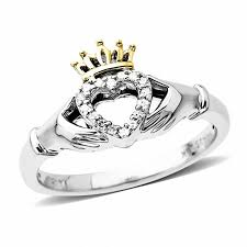 clatter ring diamond accent claddagh ring in sterling silver and 14k gold