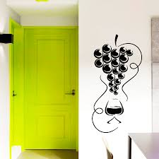 wall decals wine glass with grapes decal vinyl sticker kitchen zoom