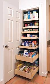 Pull Out Drawers In Kitchen Cabinets Wooden Pull Out Drawer Food Pantry Closet With Single Door Of