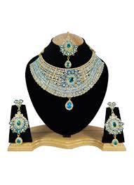 zircon necklace set images Buy white n sky blue zircon stone choker necklace set kundan jpg