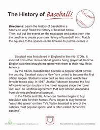 history of baseball comprehension worksheets worksheets and
