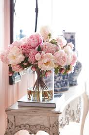 Peony Floral Arrangement Beautiful Pink Peonies In Clear Vase For A Romantic Space From