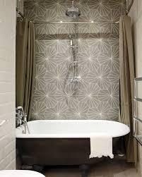 Grey Tile Living Room Architecture Metal Bathtub Geometric Gray Tile Curtains Home