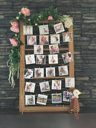 adorable little photo display for a party love the floral boarder
