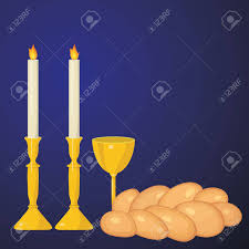 shabbat candles shabbat candles kiddush cup and challah royalty free cliparts