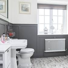 White Bathroom Laminate Flooring - modern bathroom with grey panelling and laminate flooring grey