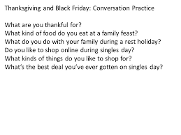 thanksgiving and black friday conversation practice what are you