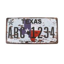 texas the lone star state plaque metal sign home decor 6x12 inches
