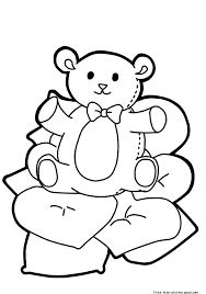 valentines cute teddy bear heart coloring pagesfree