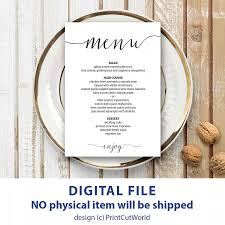 wedding menu cards wedding menu template 5x7 rustic wedding menu printable instant